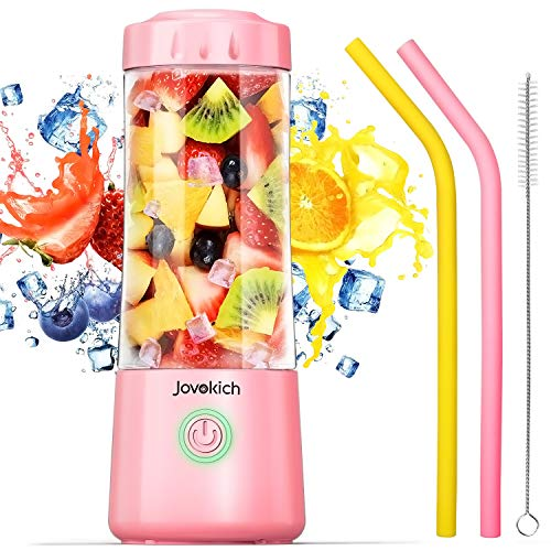 Portable Blender, Jovokich Personal Blender for Shakes and Smoothies, 14oz Juice Extractor Fruit Cup with 4000mAh USB Rechargeable Battery, Crushed Ice Maker Drink Mixer
