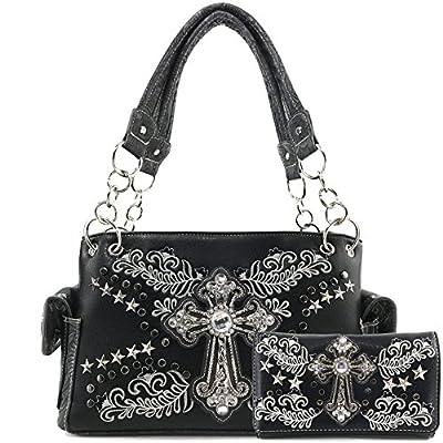 Justin West Cross Western Floral Damask Embroidery Studs Stars Concealed Carry Handbag Purse (Black Handbag and Wallet Set)