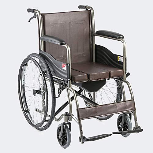 FEE-ZC Leichte verstellbare Klapprollstuhlfahrer Medizinische, behindertengerechte Toilette Tragbarer Multifunktions-Altwagen