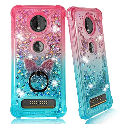 ZASE Moto Z4 Clear Case for Motorola Moto Z4 Verizon 5G Liquid Glitter Sparkle Bling Protective Cover 3D Waterfall Floating Butterflies Shockproof Bumper w/Phone Ring Holder (Gradient Pink Aqua)