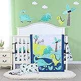JISEN 3 Piece Crib Bedding Set Crib Quilt Crib Sheet Pillowcase - Soft Microfiber Printed Dinosaur Nursery Set for Baby Boys or Girls