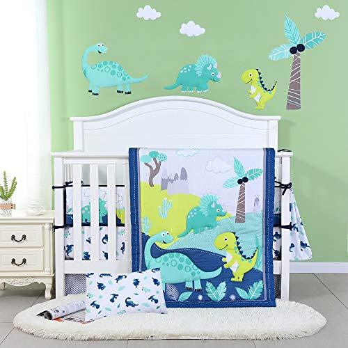 JISEN 3 Piece Crib Bedding Set Crib Quilt Crib Sheet Pillowcase - Soft Microfiber Printed Dinosaur...