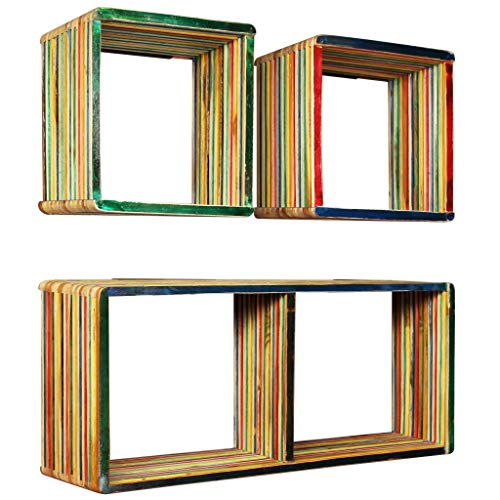 Wandplank Set 3 stuks Solid Reclaimed Teak Veelkleurig Meubelrek Wandplanken & Ledges