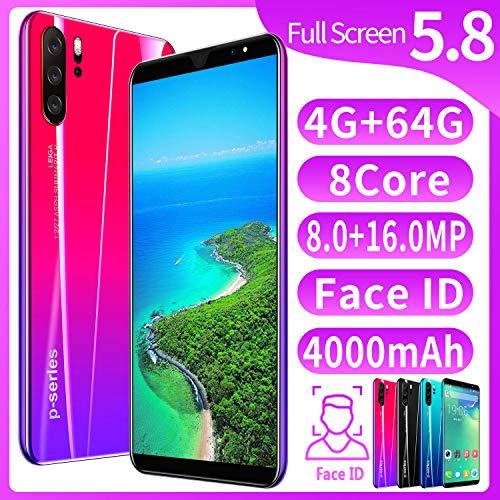 XGLL Pantalla Completa 5.8 Pulgadas Smartphones, 8.0MP + 16.0MP 4GB RAM + 64GB ROM 4000Mah Batería De Iones De Litio Dual SIM Teléfono Móvil,Rojo