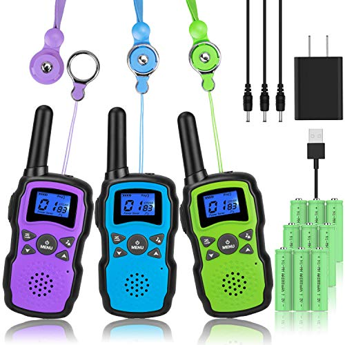 Wishouse Walkie Talkies for Kids Adult Long Range Rechargeable 3 Pack,Boy Wearable Walky Talky Set 2 Way Radio with USB Charger Battery,Camping Games Toy Birthday Xmas Gift for Girl Children Family