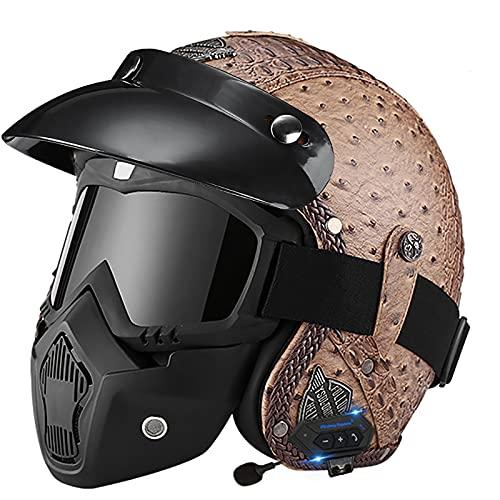 Casco de motocicleta retro de cuero, con máscara de visera Gafas Casco de bicicleta de cara medio abierta Aprobado por ECE/DOT para hombres y mujeres G,M~57-58cm