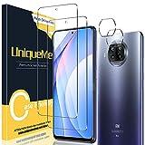[2+2 Pack] UniqueMe Compatible con Xiaomi Mi 10T Lite 5G Protector de Pantalla y Protector de Lente de cámara, Vidrio Templado [9H Dureza] HD Film Cristal Templado