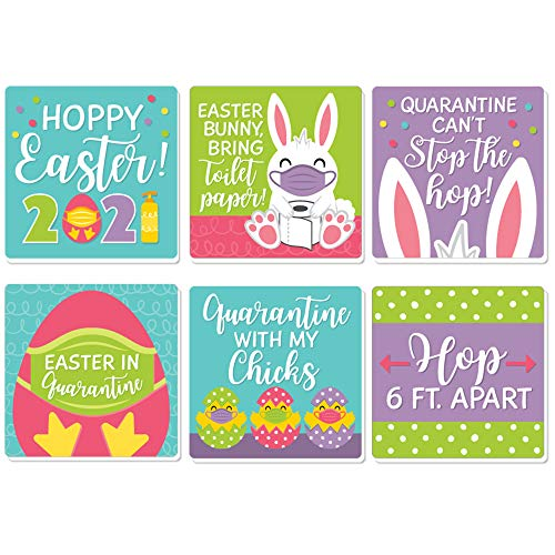 Big Dot of Happiness Quarantine Easter - Funny 2021 Egg and Bunny Party Decorations - Drink Coasters - Set of 6