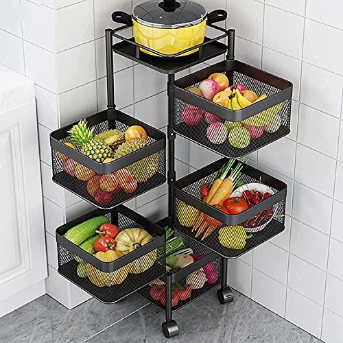 Almacenamiento Rack Cocina Vegetal Rack 3/4/5 TIER Rolling Cocina Carrito de la Utilidad con ruedas Cocina giratoria Fruta y cesta de verduras Cartes de almacenamiento extraíble para la despensa de la