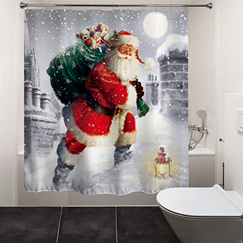 """HIYOO Christmas Santa Claus Shower Curtain with Hooks, Xmas New Year Home Decorations Winter Bathroom Decor Waterproof Polyester Fabric Shower Curtain - Happy Santa Gift-Giving 72"""" W x 72"""" L"""