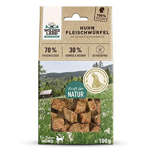 Wildes Land | Fleischwürfel Huhn | 200 g | Kausnack für Hunde | 70% Frischfleisch | 30% Gemüse & Beeren | Natürlich belohnen | getreidefrei | Hohe Akzeptanz | Frisches, schonend getrocknetes Fleisch