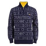 Nautica Boys' Big Printed 1/4 Zip Logo Pullover Sweater, Navy, Large (14/16)