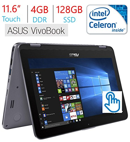 2018 Business Newest Asus VivoBook Flip 11.6' Touchscreen 2-in-1 Laptop/Tablet, Intel Celeron N3350, 4GB RAM, 128GB Solid State Drive, WiFi, Fingerprint Reader, Stylus Pen, Windows 10 Home