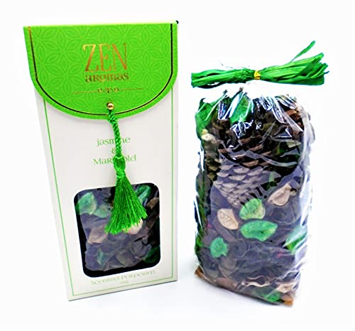 SERVICES Zen popurrí perfumado 150g JAZMÍN Maravilla (Jasmine Marigold) Caja de Regalo Fragancia de Bosque seco Incienso Buenos olores de casa