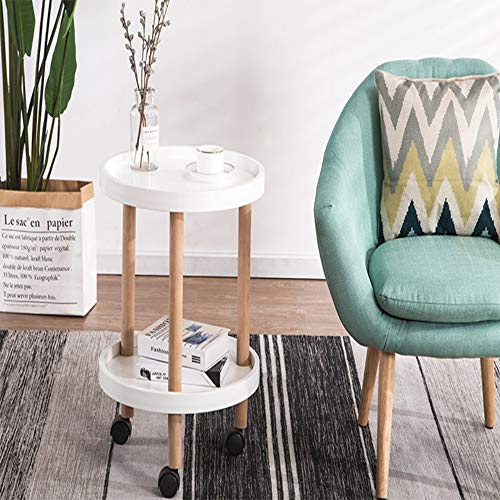 Table Basse Thé Fin Table avec Movable Nuit Extérieur Intérieur for Salon Table de Thé (Color : White, Size : 45x35x62cm)