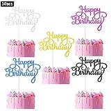 50 pcs Happy Birthday Cake Toppers, Birthday Cake Topper Picks Glitter Cardstock Topper Letters Cake Topper Decoration for Birthday Party Cake Supplies, 5 Colors