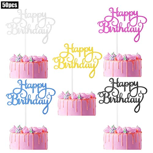 pengxiaomei 50 pcs Happy Birthday Cake Toppers, Birthday Gold Cupcake Topper Acrylic Glitter Cardstock Topper Letters'Happy Birthday', Supplies for Various Birthday Cake Decorations Five Colors