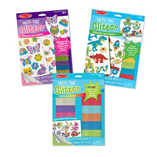 Melissa & Doug Mess-Free Glitter Stickers & Extra Sheets Value Pack (3 Set)