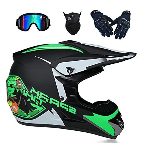Casco de motocross con gafas de protección, para niños, color negro y verde, casco de moto de cross, para adultos, todoterreno, todoterreno, quad, enduro, MTB, casco de protección (56-57 cm)