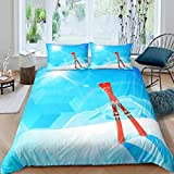 Erosebridal Skiing Duvet Cover Snow Mountain Bedding Set Twin Size Extreme Sports Bedspread Cover Sunset Snowboard Snow Blue Geometric Comforter Cover for Boy Men, Room Decorative Stylish