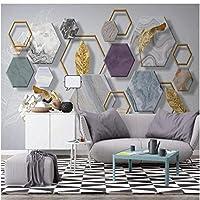Iusasdz カスタム3D壁紙写真壁画北欧ミニマリスト石の幾何学金箔テレビ背景壁リビングルーム壁画3D壁紙150X120Cm