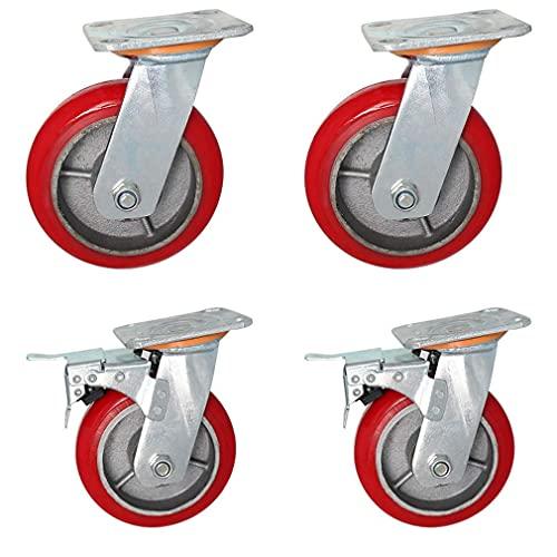 Rueda Universal 4 X Ruedas Resistentes Ruedas de Repuesto silenciosas Rodamiento de Carga Alta 250 KG Rodillos para Muebles Mesa de Carro