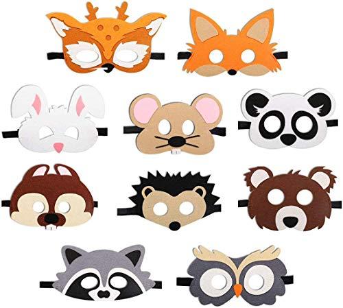 FANDE Fiesta Máscaras para Niños, 10 Piezas Mascarillas de Espuma para Niños, Mascarilla Animal Fieltro Máscaras para Bolsas de Fiesta, Máscara, Fiesta de Dumpleaños, Navidad, Halloween