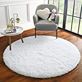 ULTRUG Fluffy Round Rug for Kids Room, Soft Circle Area Rugs for Girls Bedroom, Cute Princess Castle Nursery Rug Shaggy Circular Carpet for Teens Girls Baby Bedroom Home Decor, 4 x 4 Feet White