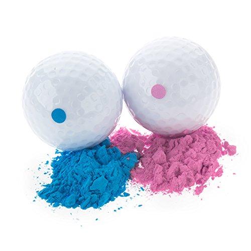 Baby Gender Reveal Exploding Golf Balls - Pink and Blue Set for Boy or Girl Sex Reveal Party (1 Pink Ball and 1 Blue Ball) Or Single Golf balls (Blue and Pink Set (2 Balls))