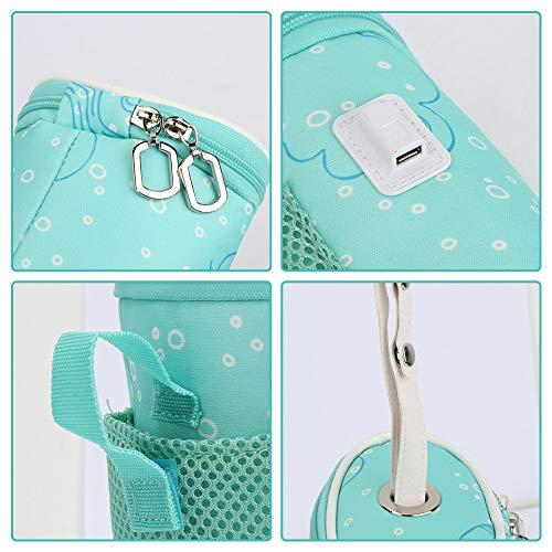 Biitfuu Viaje del Calentador del biberón, Bolso USB del Calentador del Calentador de biberones para el bebé para el Coche del Viaje
