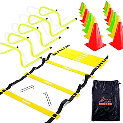 Speed Agility Training Set - Includes 20 Foot Tall Agility Ladder, 24 Multi Colored 6 Inch High Cones, 5 Hurdles 6 Inch High, Carry Bag, For Training Football, Soccer, Hockey, and Basketball Athletes