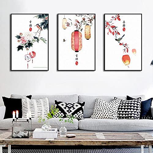 LZASMMVP Lámpara de Linterna de Flor de Estilo Oriental Chino, Rica y Segura, luz armoniosa, Restaurante, decoración del hogar, Regalos, póster   50x70cmx3 sin Marco