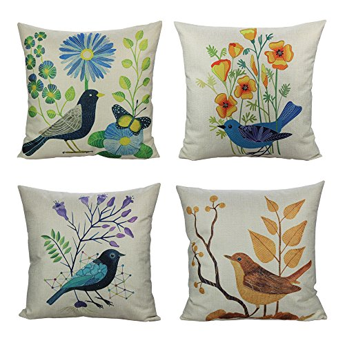All Smiles Summer Birds Cushion Covers Decorative Spring Floral Outdoor Decor Pillows for Couch Sofa Home Holiday 18x18 Set of 4 Cotton Linen