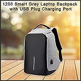 QualityPrism 1208 Smart Grey Laptop Backpack with USB Plug Charging Port