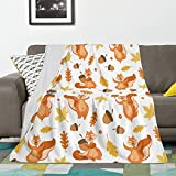 Throw Blanket Cute Squirrel Colorful Leaves and Acorns Soft Fuzzy Blankets for Couch Bed Sofa Lightweight Fleece Blankets Queen Size