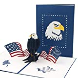 Ribbli USA Eagle Handmade 3D Pop Up Card,Greeting Card,Bird Card,National Flag Card,Patriotic Card,Birthday Card,For Memorial Day,4th of July,Flag Day,Independence Day,Veterans Day,with Envelope