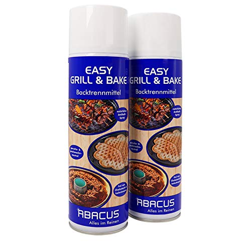 EASY GRILL & BAKE 2x 500 ml (7103) - Backtrennmittel Spray Backtrenn-Mittel Antihaft Backpapierersatz Backpapier-Ersatz Waffeleisen Pfannen Formen Grillrost Brotbackmaschinen - ABACUS