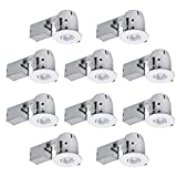 4' Swivel Round Trim Recessed Lighting Kit 10-Pack, White, Easy Install Push-N-Click Clips, 3.88' Hole Size,90540