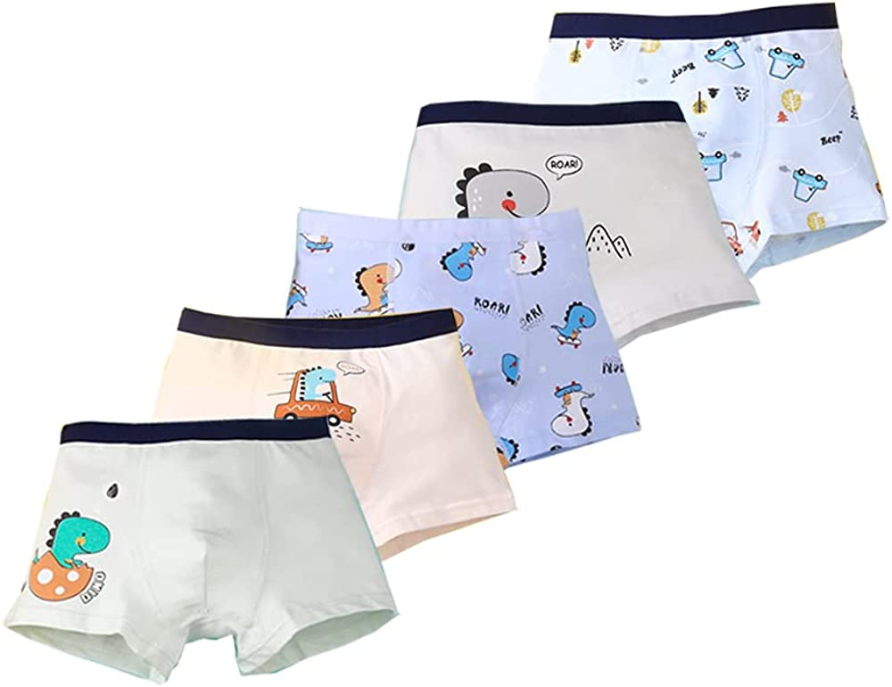 Lashapear Boys Boxer Briefs 5 Pack Dinosaur Toddler Underwear for Kids 2-11 Years