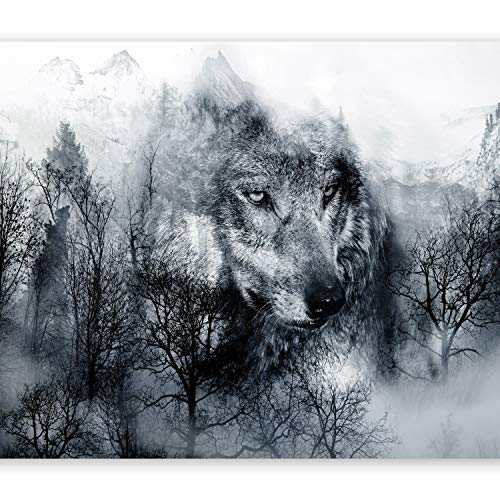 murando Fototapete Wolf 350x256 cm Vlies Tapeten Wandtapete XXL Moderne Wanddeko Design Wand Dekoration Wohnzimmer Schlafzimmer Büro Flur Wald schwarz-weiß g-A-0139-a-b