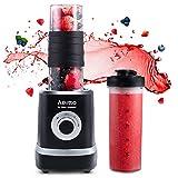 Smoothie Maker Mixer,Mini Mixer Blender, Aeitto 500W Mini Standmixer mit 2 X 520ml Reise Sport Flaschen BPA-frei Tritan-Trinkflasche, 3 einstellbare Geschwindigkeit,schwarz
