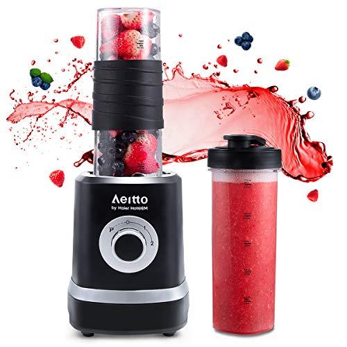 Smoothie Maker Mixer,Mini Mixer Blender, Aeitto 500W Mini Standmixer mit 2 X 520ml Reise Sport Flaschen BPA-frei Tritan-Trinkflasche, 3 einstellbare Geschwindigkeit,schwarz … (SCHWARZ)