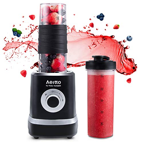 Smoothie Maker Mixer,Mini Mixer Blender, Aeitto 500W Mini Standmixer mit 2 X 520ml Reise Sport Flaschen BPA-frei Tritan-Trinkflasche, 3 einstellbare Geschwindigkeit,schwarz