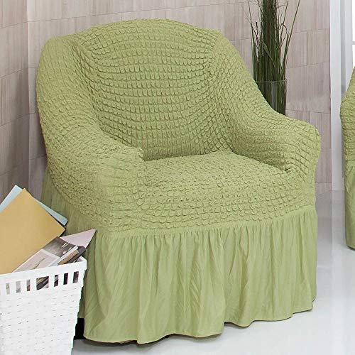 Mixibaby Sofabezug Sofahusse Sesselbezug Sitzbezug Sesselüberwurf Stretchhusse 1 er Sofa, Farbe:Pistazie