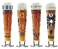 Ritzenhoff Lot de 4 verres à bière avec étiquette noire Automne 2018 Dimensions: Hauteur: 25 cm; Diamètre:  6,5cm; Contenu: 300ml; Diamètredu sous-verre: 10,7cm. Idéal pour les amateurs de design et les collectionneurs - Référence : 10102...