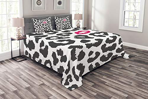 ABAKUHAUS Safari Tagesdecke Set, Gepard-Leopard-Kuss, Set mit Kissenbezügen Waschbar, für Doppelbetten 220 x 220 cm, Anthrazit grau Rosa