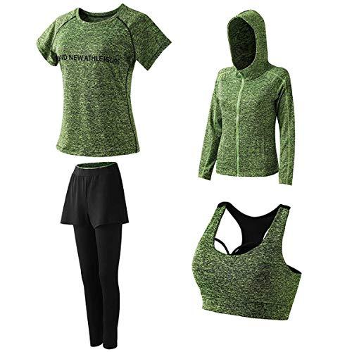 GLXQIJ Conjunto Traje Yoga De Las Mujeres 4Pcs, Suaves Cómodas De Secado Rápido Chándales De Conjuntos, Correr Correr Entrenamiento De La Gimnasia Sweatsuit,Green b,XXL