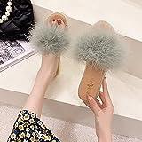 Zapatillas De Casa para Mujer Verano Abiertas,Las Mujeres Usan 2021 Viernes Furry Furry Fully Floy-Floothed Flobs, Estilo De Hadas Sandalias Peludas Suaves Y Zapatillas, Zapatillas De Play