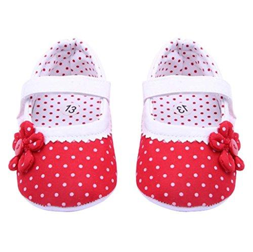 BZLine - Unisexe Bébé Fleur Chaussure à Motif Pois - Semelle à Tissu - Souple (12-18 Mois, Rouge)