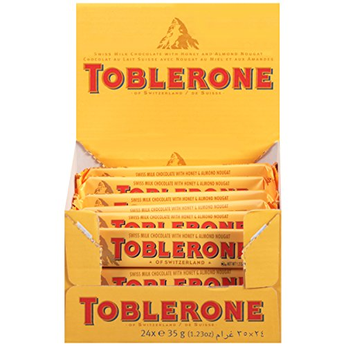 Toblerone Swiss Milk Chocolate with Honey & Almond Nougat, Easter Chocolate, 24 - 1.23 oz Bars